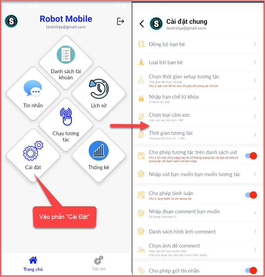 cai dat chung 1 Hướng dẫn sử dụng phần mềm tương tác Facebook tự động   Robot Mobile
