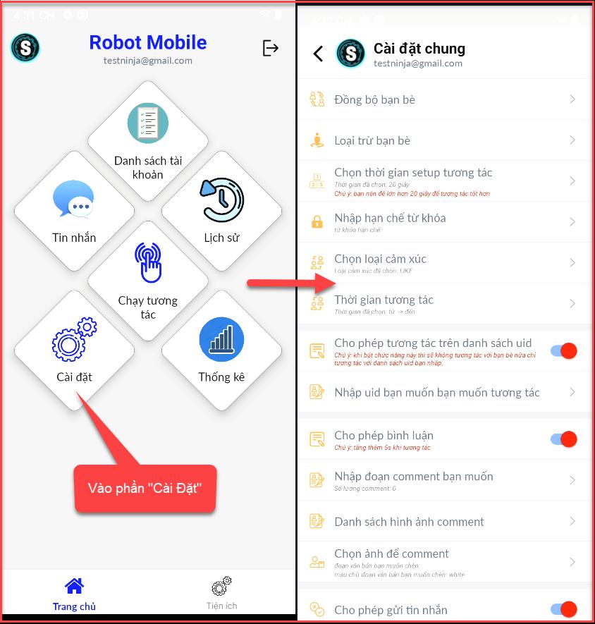 cai dat chung Hướng dẫn sử dụng phần mềm tương tác Facebook tự động   Robot Mobile