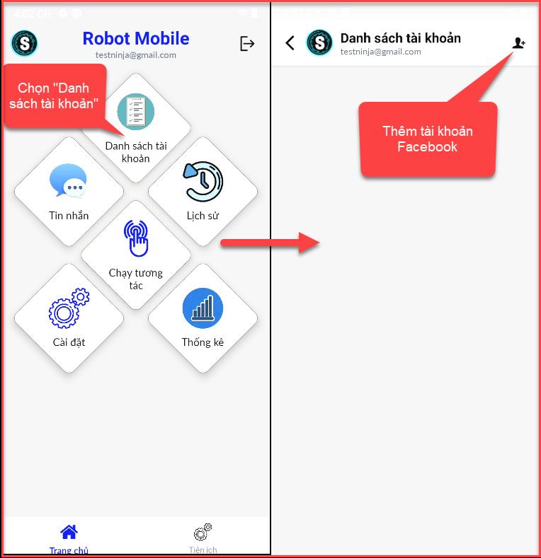 danh sách tai khoan Hướng dẫn sử dụng phần mềm tương tác Facebook tự động   Robot Mobile