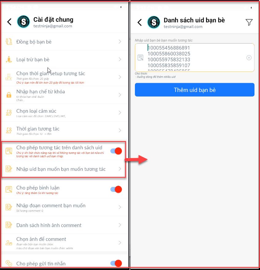 danh sach uid ban be Hướng dẫn sử dụng phần mềm tương tác Facebook tự động   Robot Mobile