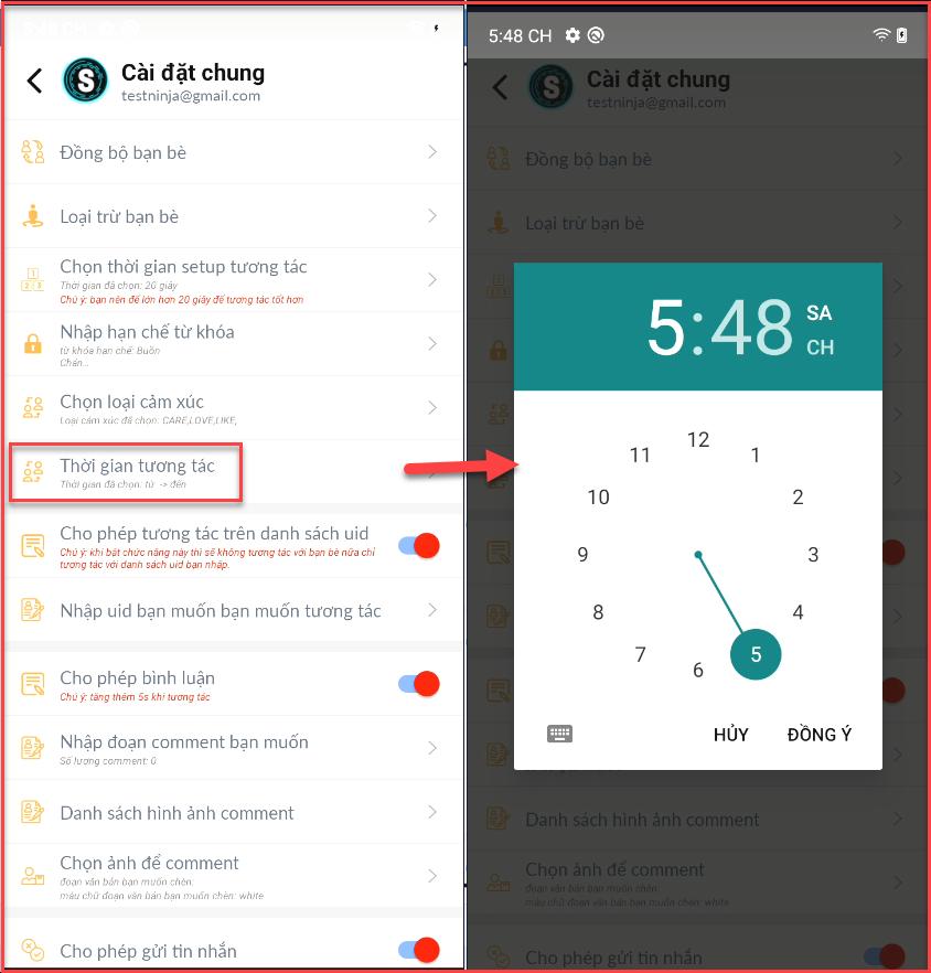 dat thoi gian tuong tac tai khoan Hướng dẫn sử dụng phần mềm tương tác Facebook tự động   Robot Mobile