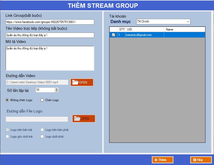 phan mem phat lai livestream2 Cập nhật phiên bản 1.2 của phần mềm phát lại Livestream tự động