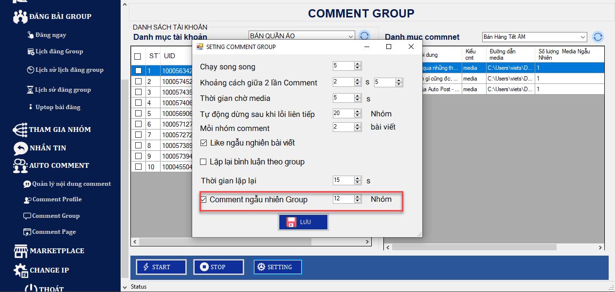 comment ngau nhien len nhom1 Phần mềm đăng tin Ninja Auto Post thêm nhiều tính năng mới