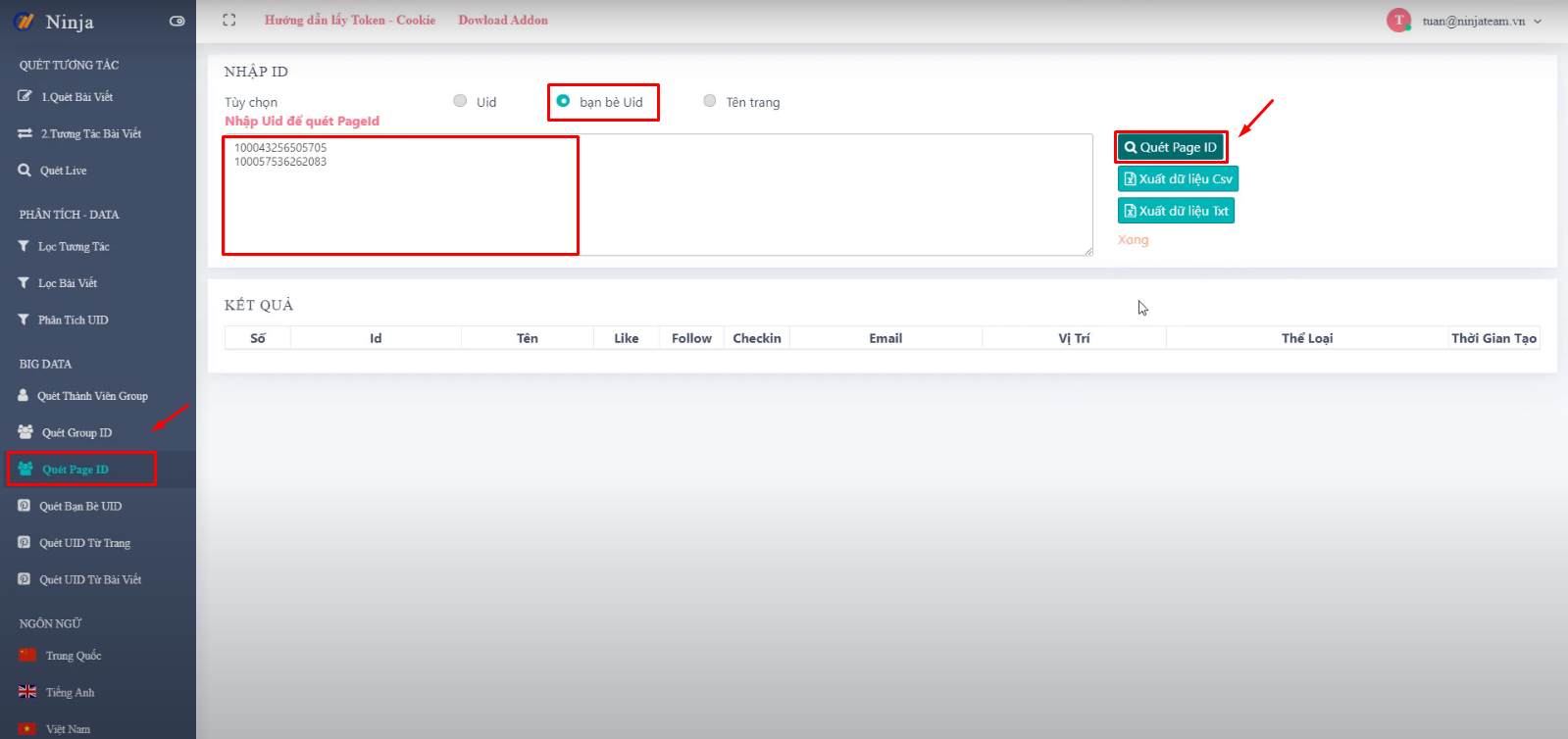 cach tim kiem fanpage facebook5 Cách tìm kiếm data fanpage trên phần mềm Ninja UID Pro