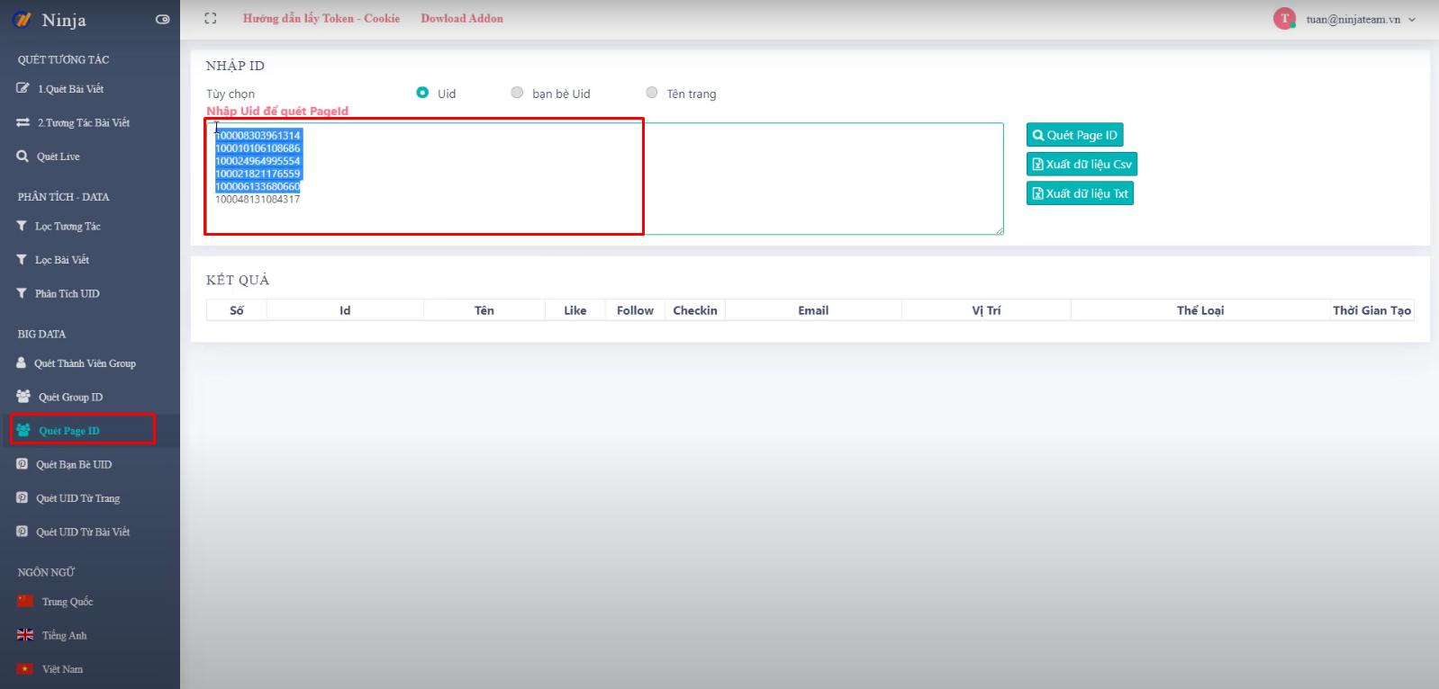 cach tim kiem fanpage Cách tìm kiếm data fanpage trên phần mềm Ninja UID Pro