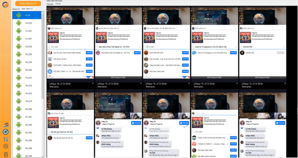 livestream số lương lớn trên Ninja System 1024x545 Ninja System phiên bản Pro   Phần mềm tương tác nick facebook số lượng lớn tự động