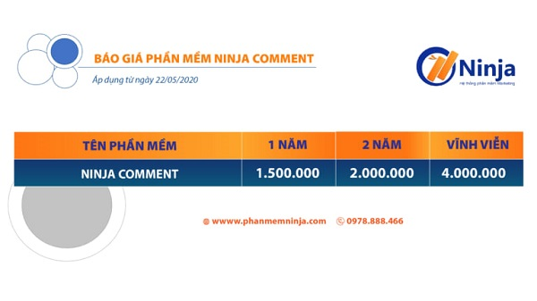 bang gia ninja comment Tool lọc comment facebook, livestream tự động 2021