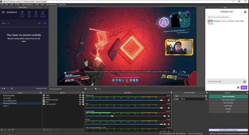 obs studio streamelements Top 5 phần mềm live stream trên máy tính sắc nét, chất lượng cao