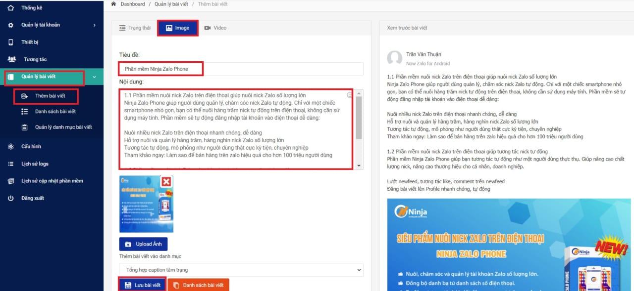phần mềm ninja zalo phone3 Cách thêm bài viết trên Zalo tự động với Ninja Zalo Phone