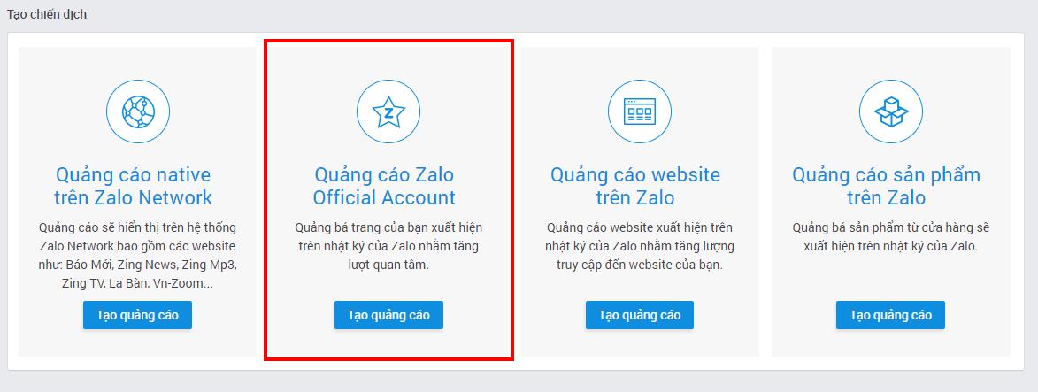 thiet lap quang cao zalo oa Hướng dẫn 6 bước tự chạy quảng cáo zalo hiệu quả từ A Z
