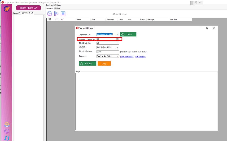 nhân bản LD Phần mềm tương tác tiktok hướng dẫn nhập tài khoản, tạo nhóm, nhân bản LDplayer