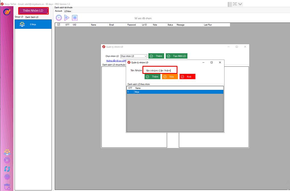 thêm nhóm LD Phần mềm tương tác tiktok hướng dẫn nhập tài khoản, tạo nhóm, nhân bản LDplayer