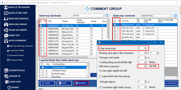cai dat thong so auto comment group facebook 1 Tool auto comment group facebook 2021 tự động, chuyên nghiệp