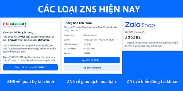 cac loai zns Zalo zns là gì? Tầm quan trọng của zalo zns trong kinh doanh