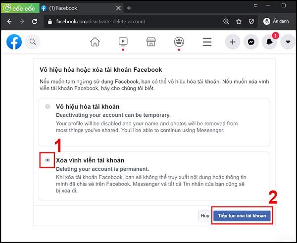 xoa tai khoan facebook vinh vien 3 Cách xóa tài khoản facebook vĩnh viễn trên điện thoại và máy tính