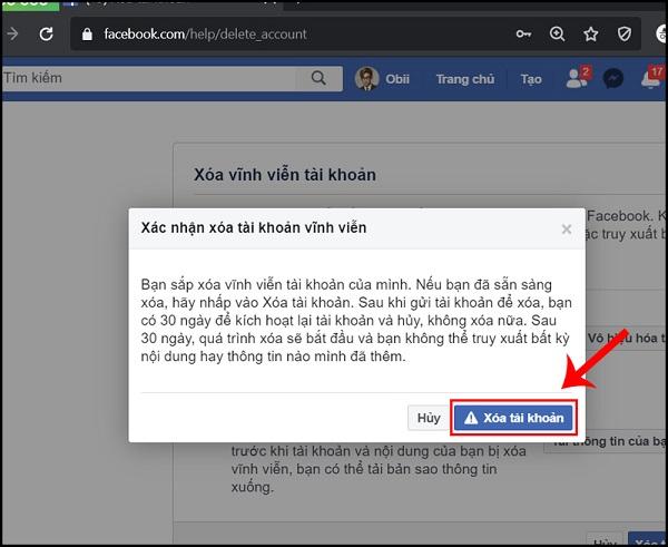 xoa tai khoan facebook vinh vien 6 Cách xóa tài khoản facebook vĩnh viễn trên điện thoại và máy tính